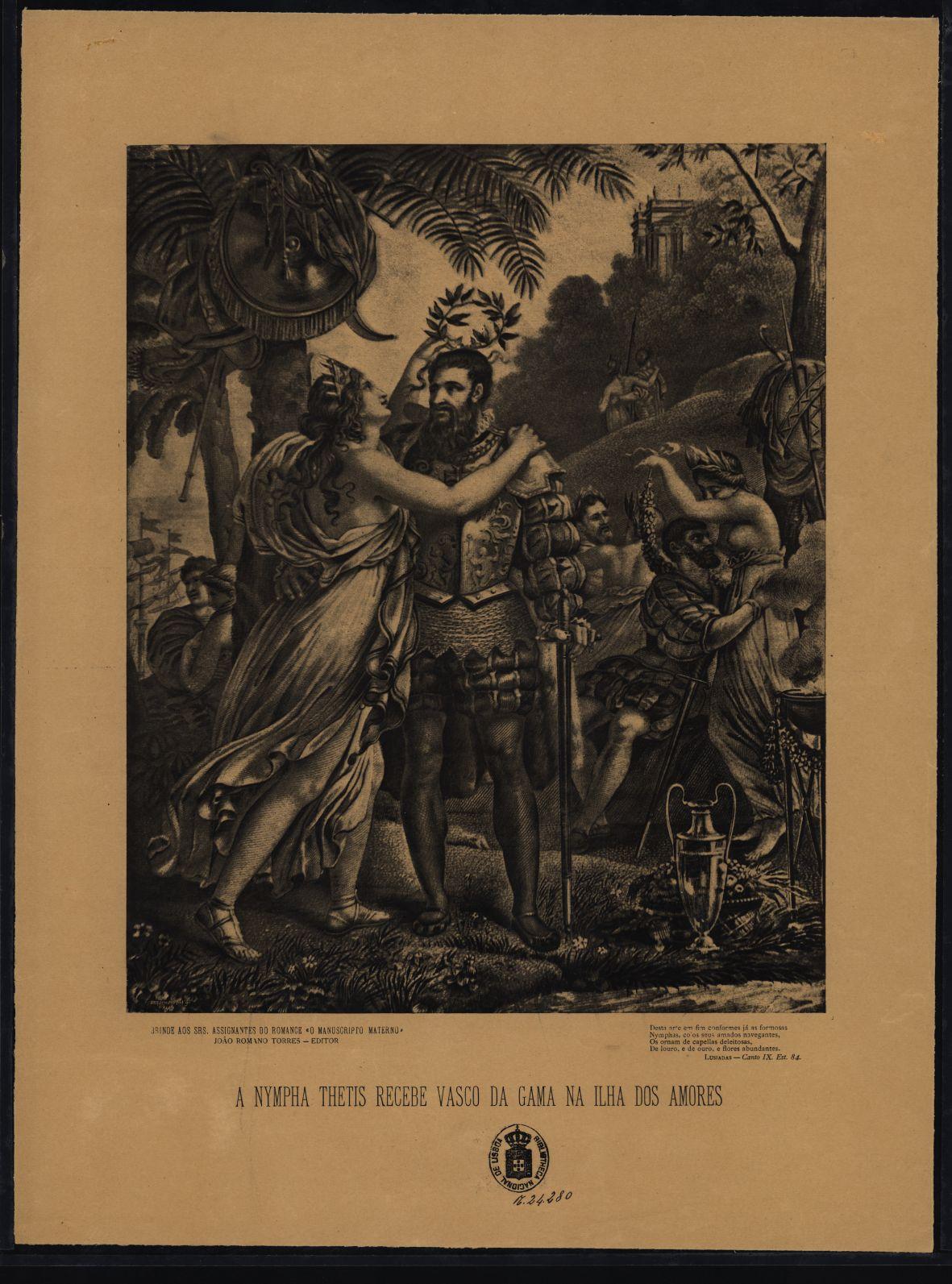rt ilustr pires marinho, A nympha Thetis recebe Vasco da Gama na ilha dos amores (c.1890)