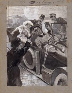 Ilustração orginal de Ramos Ribeiro para História ilustrada da guerra de 194